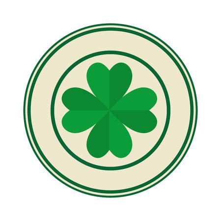 seal with st patrick clover leaf vector illustration design