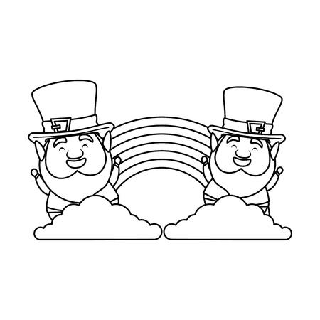 st patricks day leprechauns with rainbow vector illustration design
