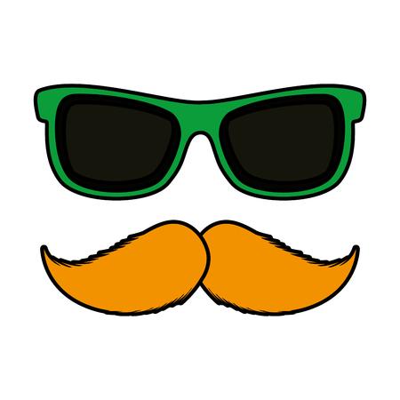 sunglasses and mustache accessory icon vector illustration design Ilustrace