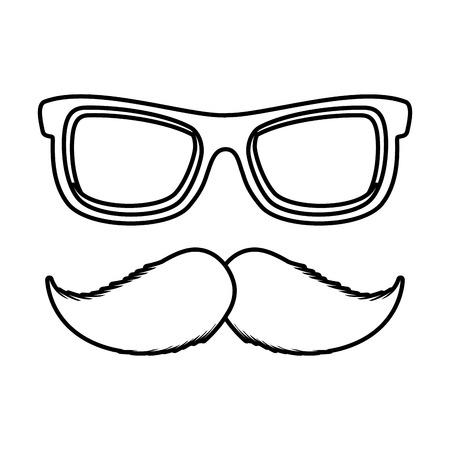 sunglasses and mustache accessory icon vector illustration design  イラスト・ベクター素材