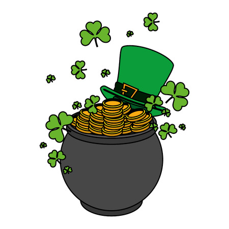 cauldron with coins and leprechaun hat st patricks day vector illustration