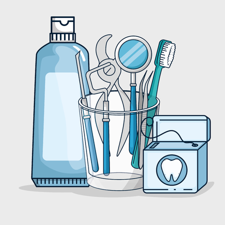 dentistry medicine equipment to professional treatment vector illustration Foto de archivo - 125897372