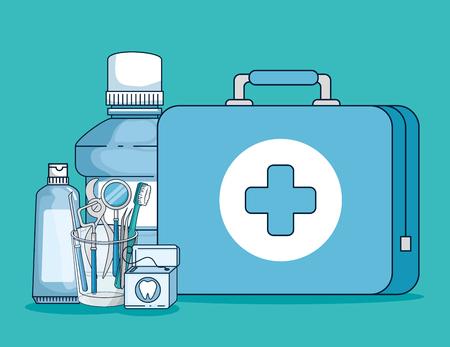 dentist medicine equipment and oral hygine vector illustration 일러스트