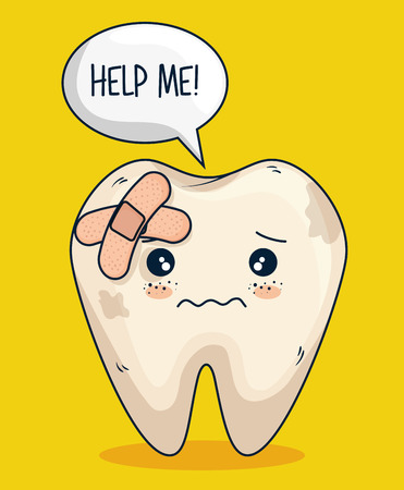 tooth with aid care and hygiene treatment vector illustration Ilustração