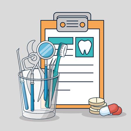 medicine diagnosis and dental treatment equipment vector illustration 일러스트