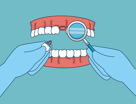 teeth treatment with mouth mirror and prosthesis vector illustration Illustration