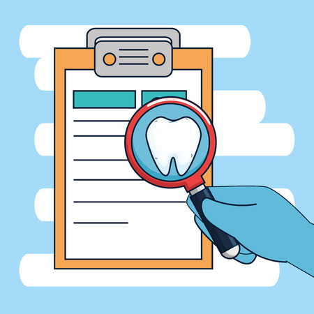 dentistry diagnosis with medicine treatment and magnifying glass vector illustration