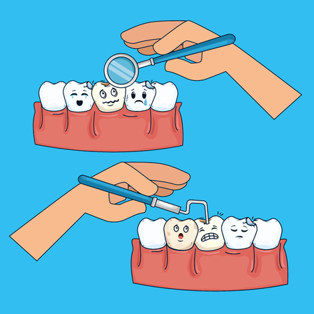 set tooth medicine healthcare with mouth mirror and probe vector illustration