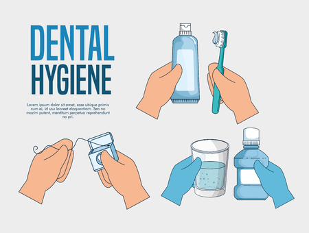 set teeth hygiene medicine treatment to healthcare vector illustration
