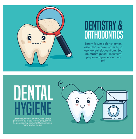 set tooth care treatment with magnifying glass and dental floss vector illustration Illustration