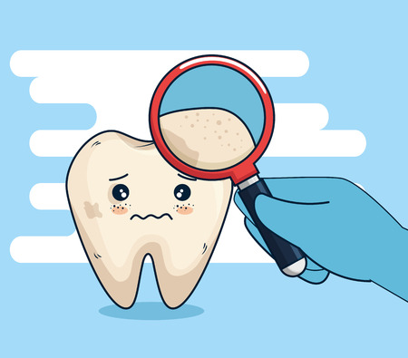 tooth hygiene treatment with magnifying glass vector illustration