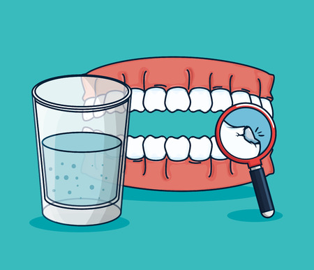 teeth treatment with mouthwash glass and magnifying glass vector illustration Stok Fotoğraf - 125897380