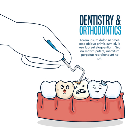 teeth healthcare treatment with dental probe vector illustration Illustration