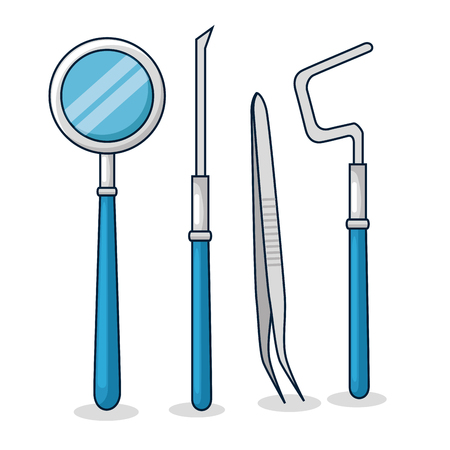 set dentist medicine equipment to oral hygiene vector illustration Illustration