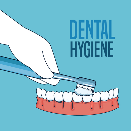 teeth hygiene treatment with toothbrush tool vector illustration 向量圖像