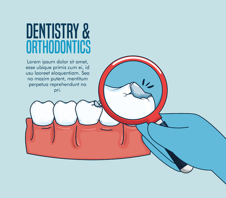 teeth medicine treatment and magnifying glass vector illustration