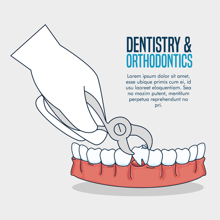 teeth medicine treatment with dental extractor vector illustration
