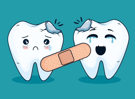 teeth medicine treatment with aid band vector illustration