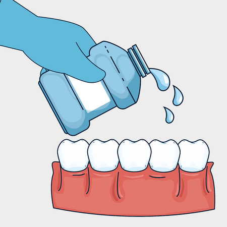 teeth healthcare hygiene with mouthwash equipment vector illustration