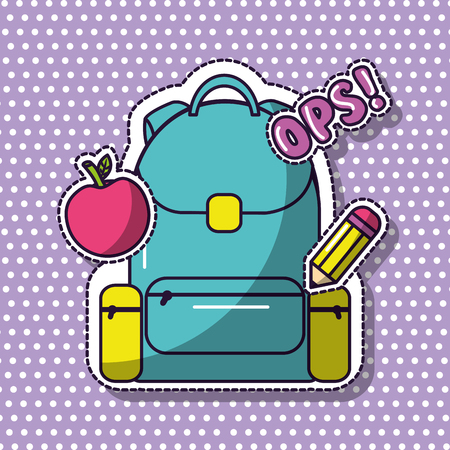 school backpack ops apple pencil elementary vector illustration Illustration