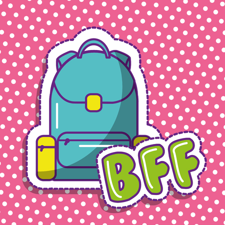 bff cute backpack school dots background design vector illustration Illustration