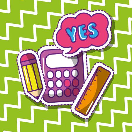 school calculator pencil ruler yes bubble speech vector illustration