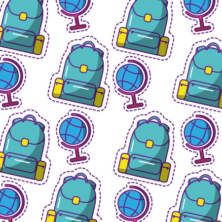 school globe and backpack equipment seamless pattern vector illustration
