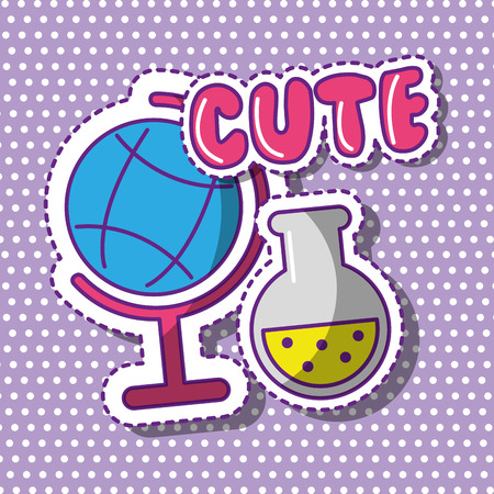 cute school globe and test tube with dots background vector illustration