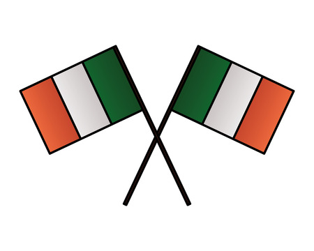 crossed irish flags on white background vector illustration