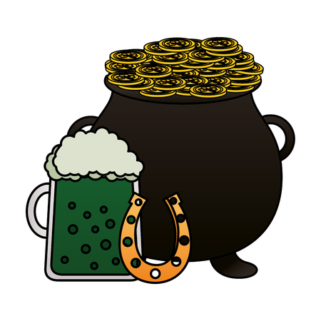 cauldron coins horseshoe green beer happy st patricks day vector illustration
