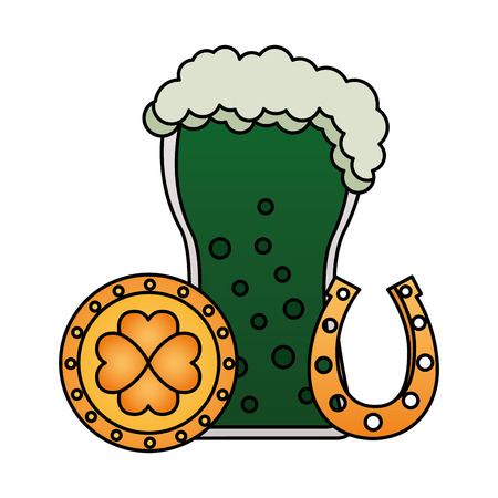 green beer horseshoe coin clover happy st patricks day vector illustration Stok Fotoğraf - 125835587