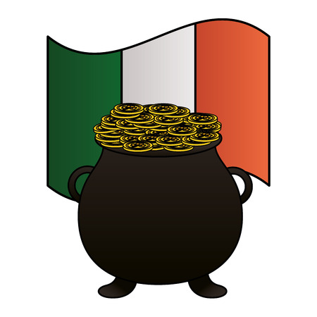 cauldron coins irish flag happy st patricks day vector illustration Foto de archivo - 116014893