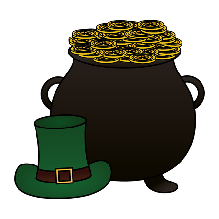 cauldron coins green hat happy st patricks day