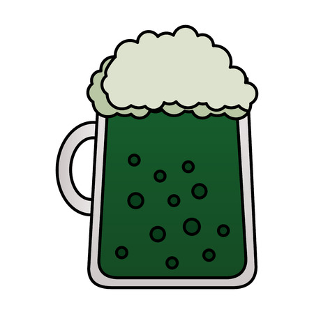 green mug beer foam happy st patricks day Illustration