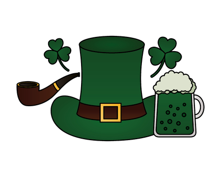 green hat beer and pipe happy st patricks day vector illustration Foto de archivo - 115964138