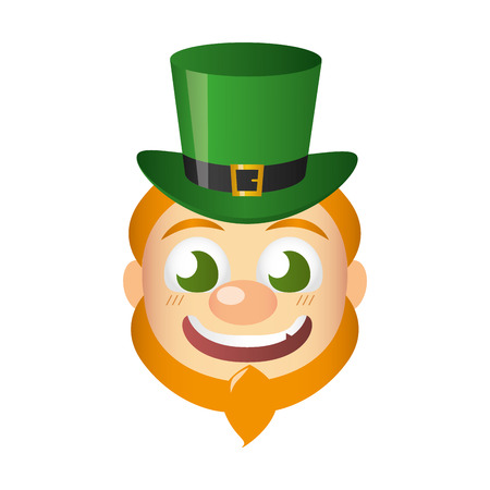 leprechaun face with hat st patricks day vector illustration
