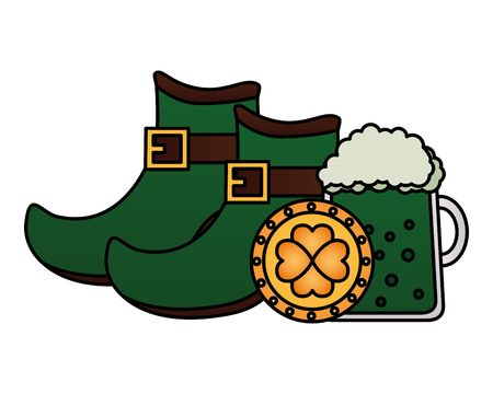 green beer shoes and coin happy st patricks day vector illustration