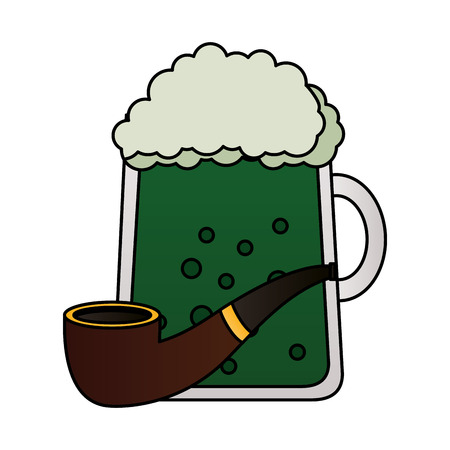 green beer and tobacco pipe happy st patricks day