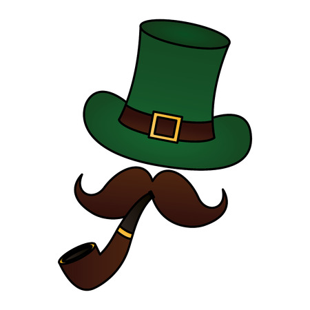 green hat pipe moustache happy st patricks day