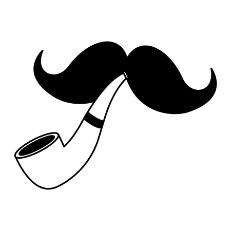 moustache and tobacco pipe white background vector illustration