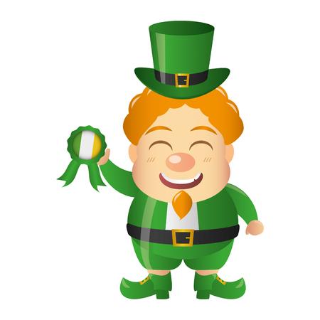 leprechaun with rosette happy st patricks day vector illustration Illusztráció