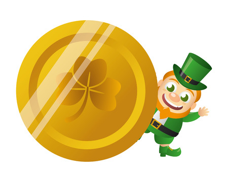leprechaun gold coin happy st patricks day vector illustration