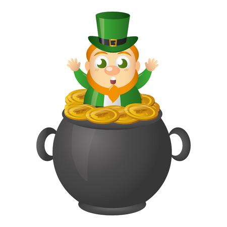 leprechaun on pot happy st patricks day vector illustration Illustration