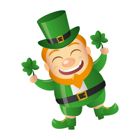 leprechaun with clovers happy st patricks day vector illustration