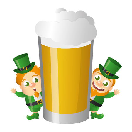 leprechauns with beer happy st patricks day vector illustration