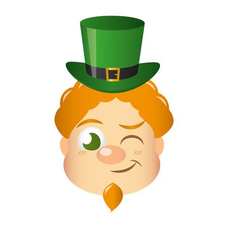 leprechaun winking eye happy st patricks day vector illustration Standard-Bild - 125835655