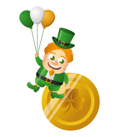 leprechaun with coin and balloons happy st patricks day vector illustration