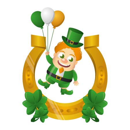 leprechaun with horseshoe balloons and clovers st patricks day vector illustration Foto de archivo - 115965453