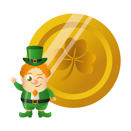 leprechaun gold coin happy st patricks day vector illustration Foto de archivo - 125835658