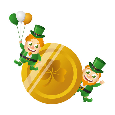 leprechauns with gold coin happy st patricks day vector illustration